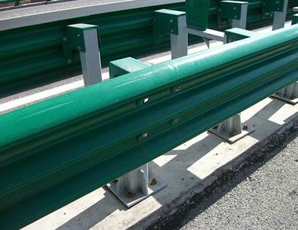 green PVC coated thrie beam guardrails